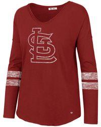 47 Brand - St. Louis Cardinals Court Side Long Sleeve T-shirt - Lyst