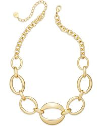 Charter Club | Silver-tone Oval Chain Frontal Necklace | Lyst