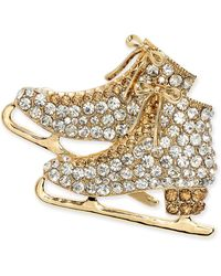 Charter Club Gold-tone Crystal Ice Skates Pin, Created For Macy's - Metallic