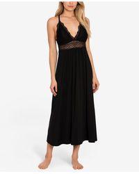 Linea Donatella Lace-trim Long Nightgown - Black
