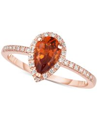 Macy's - Citrine (3/4 Ct. T.w.) & Diamond (1/8 Ct. T.w.) Ring In 14k Rose Gold - Lyst