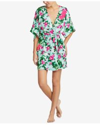 Betsey Johnson - Blue By Floral-print Lace-detail Short Robe - Lyst