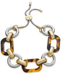 Alfani Two-tone & Tortoise-look Link Slider Bracelet, Created For Macy's - Metallic
