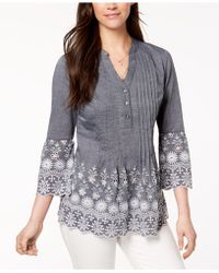 Style & Co. - Cotton Eyelet-trim Blouse, Created For Macy's - Lyst