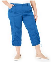 Style & Co. Plus Size Cotton Bungee Cargo Capri Pants, Created For Macy's - Blue