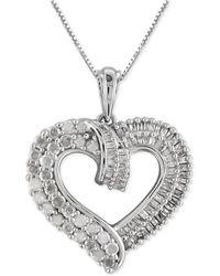 Macy's - Diamond Heart Pendant Necklace (1 Ct. T.w.) In Sterling Silver - Lyst