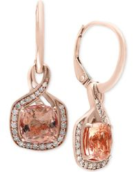 Effy Collection - Blush By Effy® Morganite (2-3/8 Ct. T.w.) And Diamond (1/5 Ct. T.w.) Drop Earrings In 14k Rose Gold - Lyst