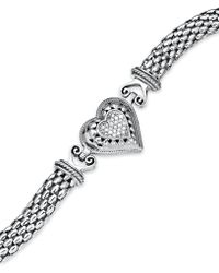 Macy's - Diamond Mesh Heart Bracelet In Sterling Silver (1/6 Ct. T.w.) - Lyst