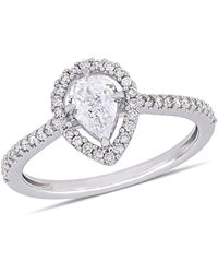 Macy's Pear-cut Floating Certified Diamond (3/4 Ct. T.w.) Halo Engagement Ring In 14k White Gold - Multicolor