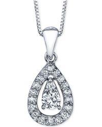 Macy's - Diamond Orbital Teardrop Pendant Necklace (1/4 Ct. T.w.) In 14k White Gold - Lyst