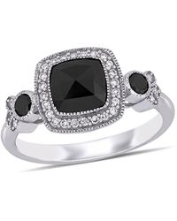 Macy's Black And White Diamond (1 1/3 Ct. T.w.) Halo Engagement Ring In 14k White Gold