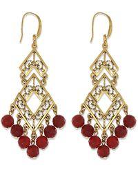 1928 T.r.u. By 14 K Gold Semi-precious Carnelian Chevron Chandelier Earring - Red