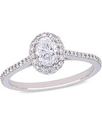 Macy's Oval Certified Diamond (3/4 Ct. T.w.) Halo Engagement Ring In 14k White Gold - Metallic