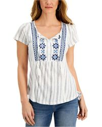 Style & Co. Embroidered Striped Top, Created For Macy's - White