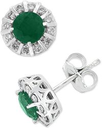 Effy Collection - Amoré By Effy® Sapphire (1-1/8 Ct. T.w.) & Diamond (1/3 Ct. T.w.) Stud Earrings In 14k White Gold - Lyst