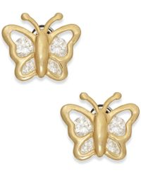 Macy's - Cubic Zirconia Butterfly Stud Earrings In 10k Gold - Lyst