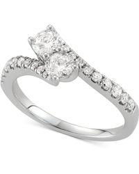 Macy's - Diamond Two-stone Twist Ring (7/8 Ct. T.w.) In 14k White Gold - Lyst