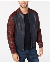 Michael Kors - Mens Washed Leather Bomber - Lyst