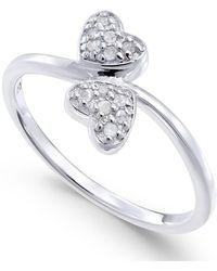 Macy's - Diamond Double Heart Ring (1/10 Ct. T.w) In Sterling Silver - Lyst
