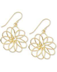 Macy's - Openwork Flower Drop Earrings In Gold-plate - Lyst