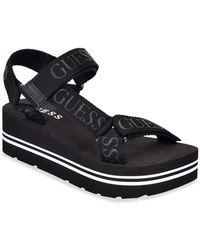 Guess Avin Strappy Platform Sandals - Black