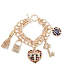 Guess - Gold-tone Multicolor Crystal Double-row Charm Bracelet - Lyst