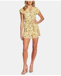Cece Flutter-sleeve Floral-print Romper - Yellow