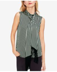Vince Camuto - Tie-neck Striped Top - Lyst