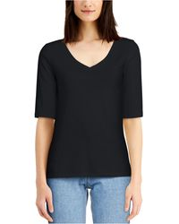 Charter Club Cotton Elbow-sleeve T-shirt, Created For Macy's - Black
