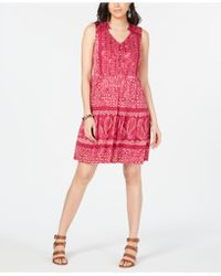 Style & Co. Mixed-print Sleeveless Peasant Dress, Created For Macy's - Red