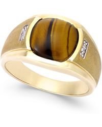 Macy's - Men's Tiger Eye (10mm) And Diamond Accent Ring In 10k Gold - Lyst
