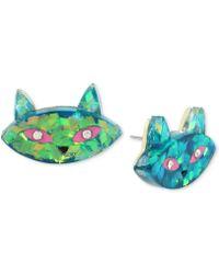 Betsey Johnson - Gold-tone Multi-stone Cat Stud Earrings - Lyst