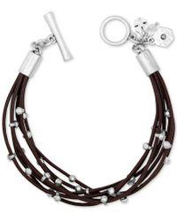 Lucky Brand Silver-tone Leather Bracelet - Metallic