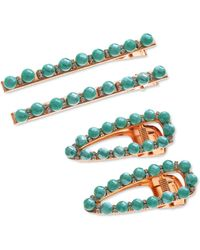 INC International Concepts 4-pc. Gold-tone Pavé & Bead Hair Clip Set, Created For Macy's - Blue