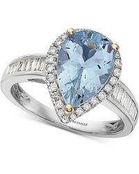 Effy Effy® Aquamarine (2-1/2 Ct. T.w.) & Diamond (3/8 Ct. T.w.) Pear Shaped Ring In 14k Gold & White Gold - Metallic