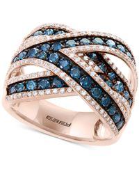 Effy Collection - Bella Bleu By Effy® Diamond Crisscross Statement Ring (1-3/4 Ct. T.w.) In 14k Rose Gold - Lyst