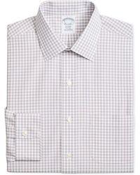 Brooks Brothers - Regent Slim-fit Non-iron Blue Brown Medium Windowpane Dress Shirt - Lyst