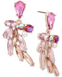 Betsey Johnson - Rose Gold-tone Multi-stone & Imitation Pearl Feather Drop Earrings - Lyst
