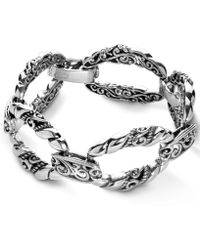 Carolyn Pollack Scroll Rope Link Bracelet In Sterling Silver - Metallic