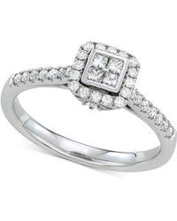 Macy's Diamond Cluster Engagement Ring (3/8 Ct. T.w.) In 14k White Gold - Metallic
