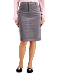 Charter Club Corduroy Tummy-control Skirt, Created For Macy's - Gray