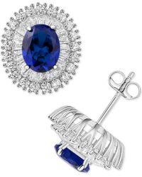 Macy's - Cubic Zirconia & Glass Stone Stud Earrings In Sterling Silver - Lyst