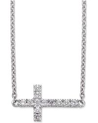 Macy's - Diamond Side Cross Pendant Necklace (1/10 Ct. T.w.) In 14k White Gold - Lyst