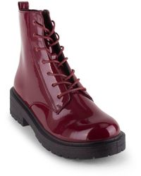 Wanted Riot Lace Up Combat Booties - Purple