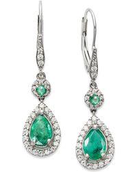 Macy's - 14k White Gold Earrings, Emerald (1-3/8 Ct. T.w.) And Diamond (1/3 Ct. T.w.) Pear Drop Earrings - Lyst