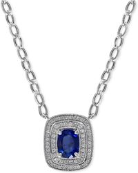 Effy Collection | Sapphire (1-2/5 Ct. T.w.) And Diamond (2/3 Ct. T.w.) Pendant Necklace In 14k White Gold | Lyst