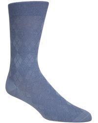 Cole Haan Tonal Argyle Crew Socks - Blue