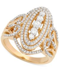 Wrapped in Love - Diamond Cluster Ring (1 Ct. T.w.) In 14k Gold - Lyst