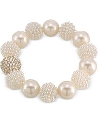 Carolee - Gold-tone Imitation Pearl And Fireball Stretch Bracelet - Lyst