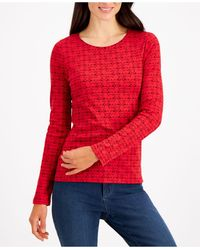Charter Club Cotton Scottie Dog Top, Created For Macy's - Red